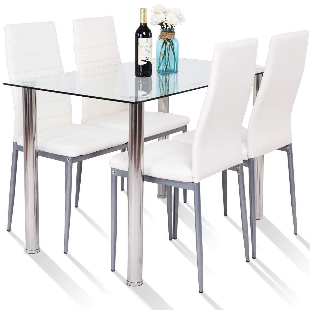 Amazoncom Tangkula 5 Pcs Dining Table Set Modern Tempered Glass Kitchen Table Settings Dining Table Setting Glass Dining Table