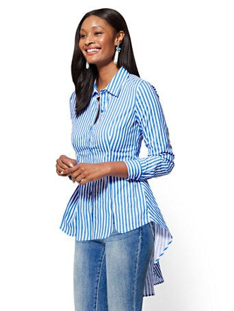 d6792ba275cd90 Shop Extreme Hi-Lo Poplin Tunic - Stripe. Find your perfect size online at  the best price at New York   Company.