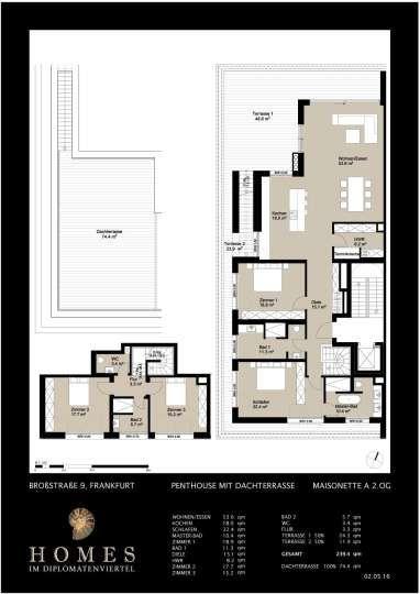 Echte Dachterrasse Attraktive Penthouse Maisonette Skylineblick Traumhaft Grundriss Maisonette Penthouse