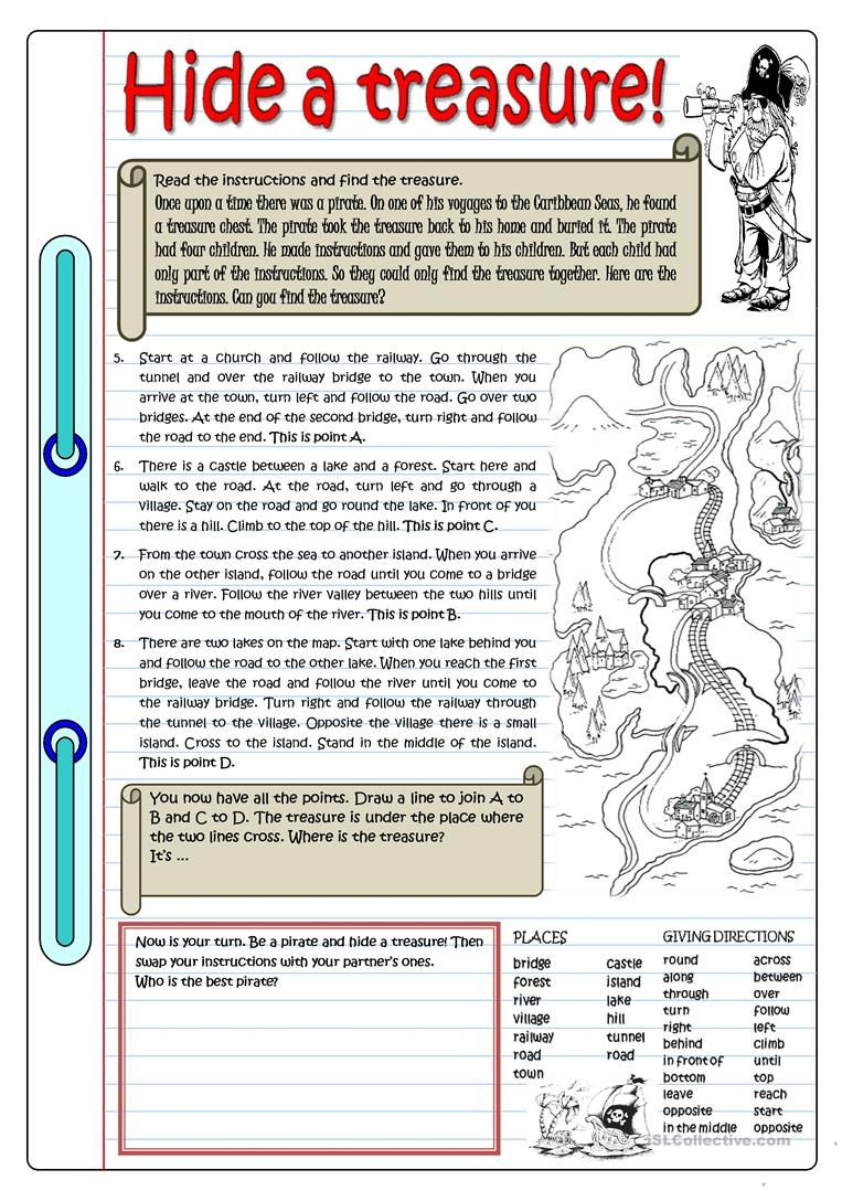 Hide A Treasure Worksheet Free Esl Printable Worksheets Made By Teachers English Teaching Materials Esl Reading Reading Comprehension Worksheets [ 1079 x 763 Pixel ]