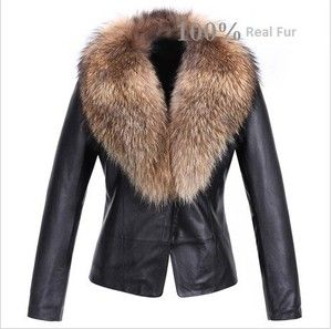 Womens Real Lamb Leather Soft Jacket with Raccoon Fur Collar ...