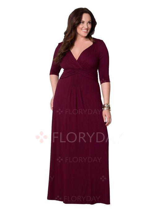 Elegant 3/4 Ärmel Solide Maxi Polyester Kleider   elegante Kleider ...