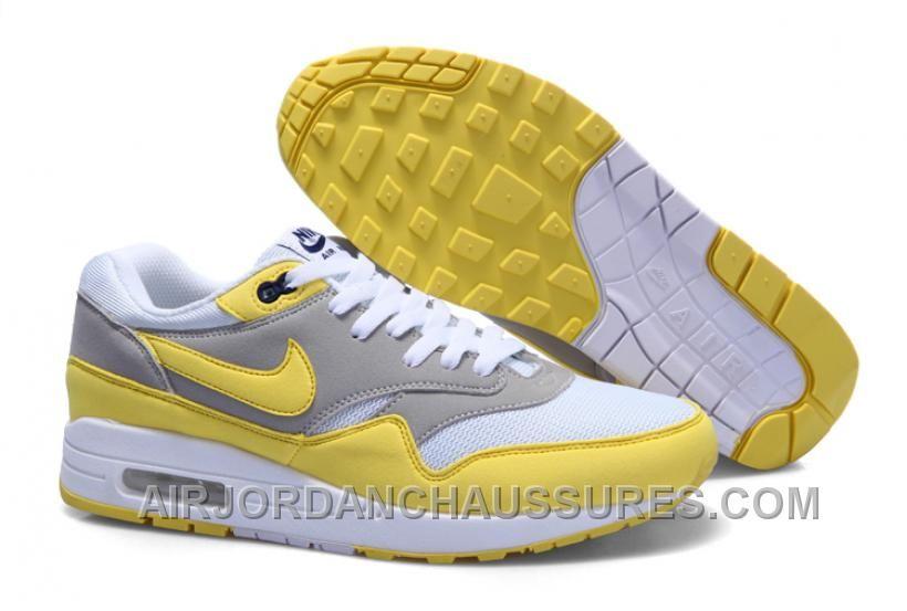 nike air max one men,Mens Cheap Nike Air Max 1 Trainers Yellow/White/Grey