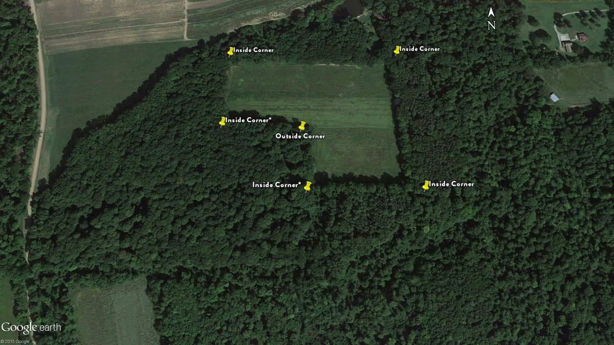 Mapping Whitetails Hunting Inside Corners - Aerial hunting maps