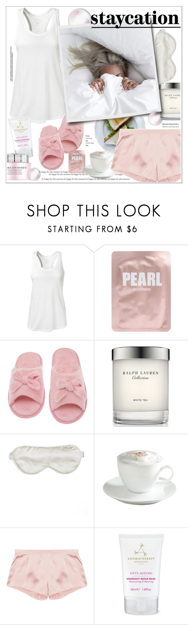 """#staycation"" by stylemeup-649 ❤ liked on Polyvore featuring Majestic Filatures, Lapcos, Deluxe Comfort, Ralph Lauren, Branché, Sur La Table, Aromatherapy Associates and Lancôme"