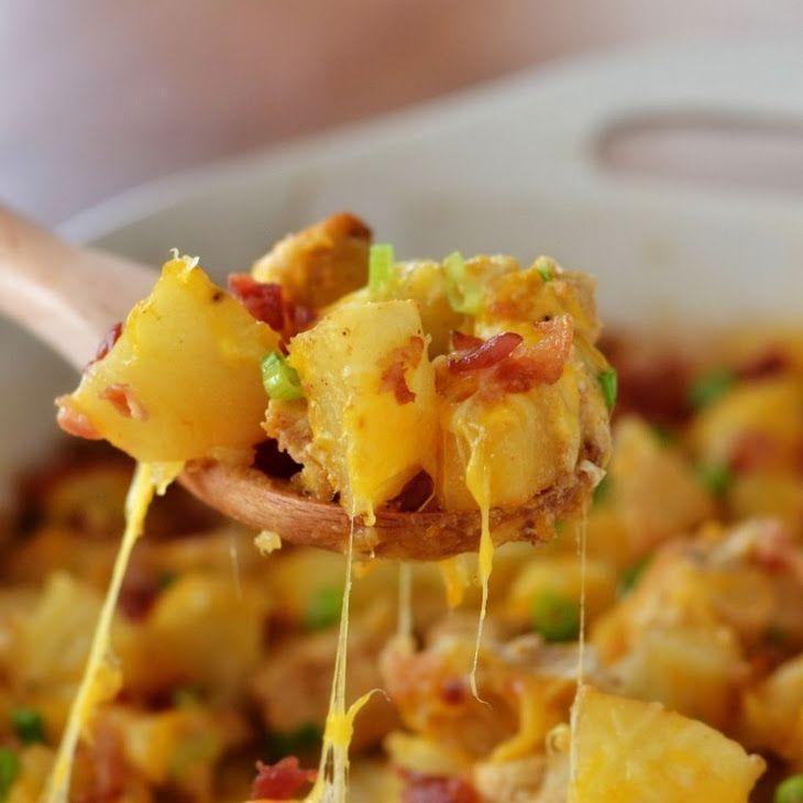 Loaded Chicken and Potato Casserole #russetpotatorecipes