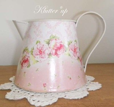 Chic Victorian Vintage Shabby Tin Metal Pitcher Vase Pink Roses 5