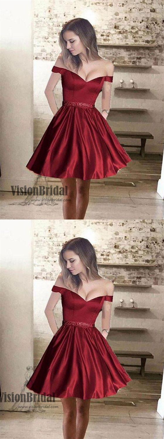 Simple off shoulder red short cheap homecoming dresses vb