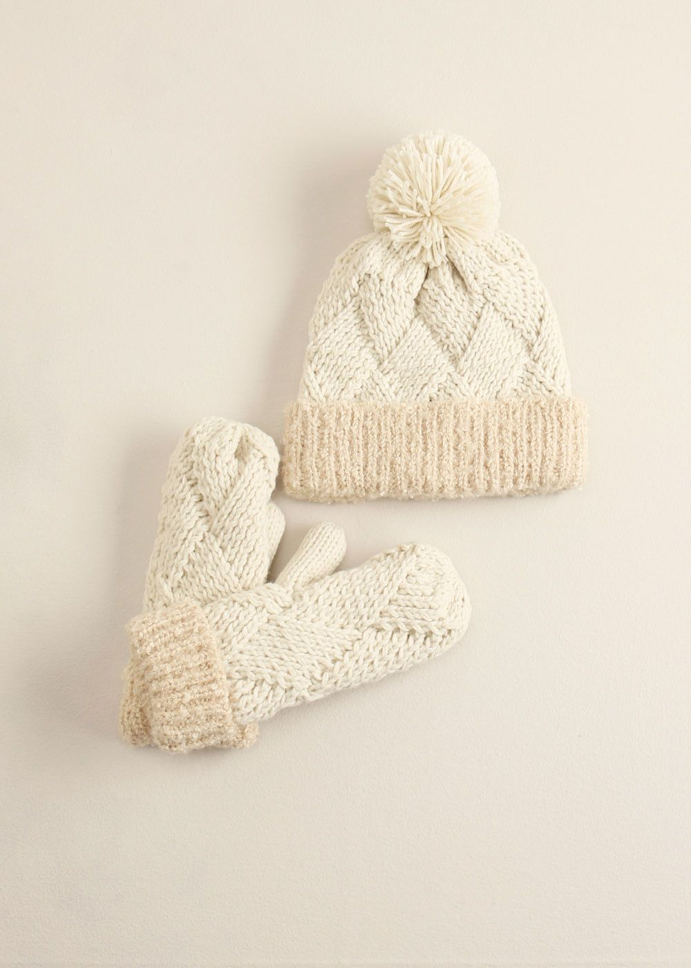 lookbym - Chess Knitted Pompom Hat Ivory setitem theset