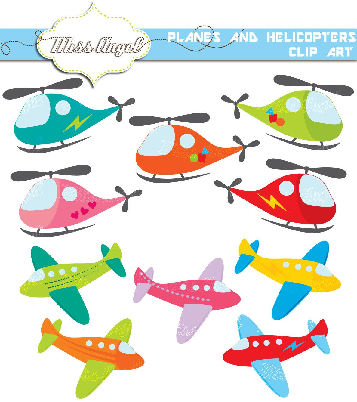 aeroplane helicopters clip art 10 cute planes and