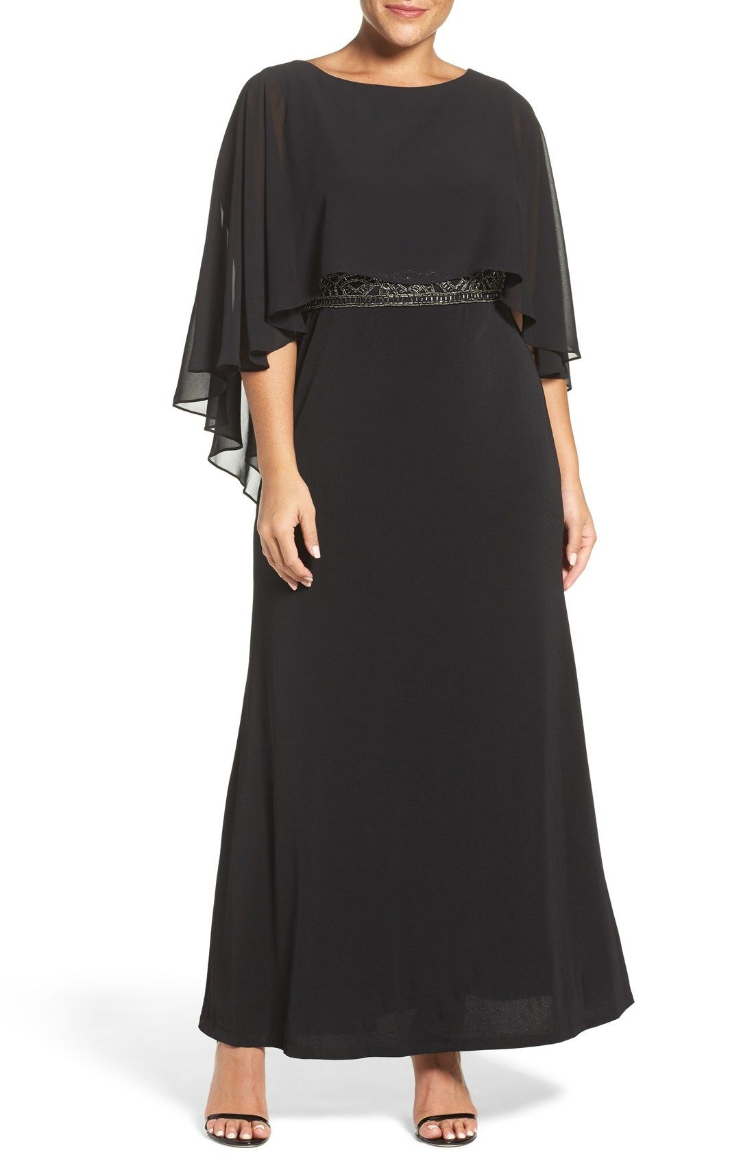 Sangria Chiffon Capelet Overlay Embellished Waist Gown (Plus Size ...