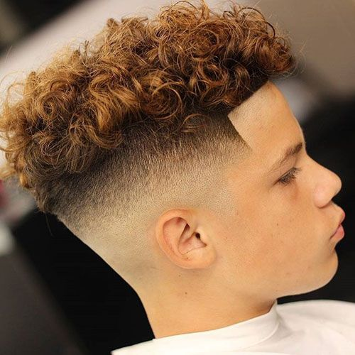 Mid Bald Fade + Shape Up + Messy Curly Hair