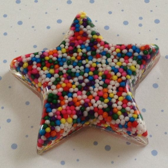 Candy Star Cabochon, candy sprinkle resin flatback, candy star, resin star, jewelry supplies, decoden, phone case deco kit, DiY supplies on Etsy, $2.60