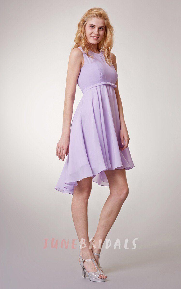 Sleeveless high neck chiffon short dress with keyhole back