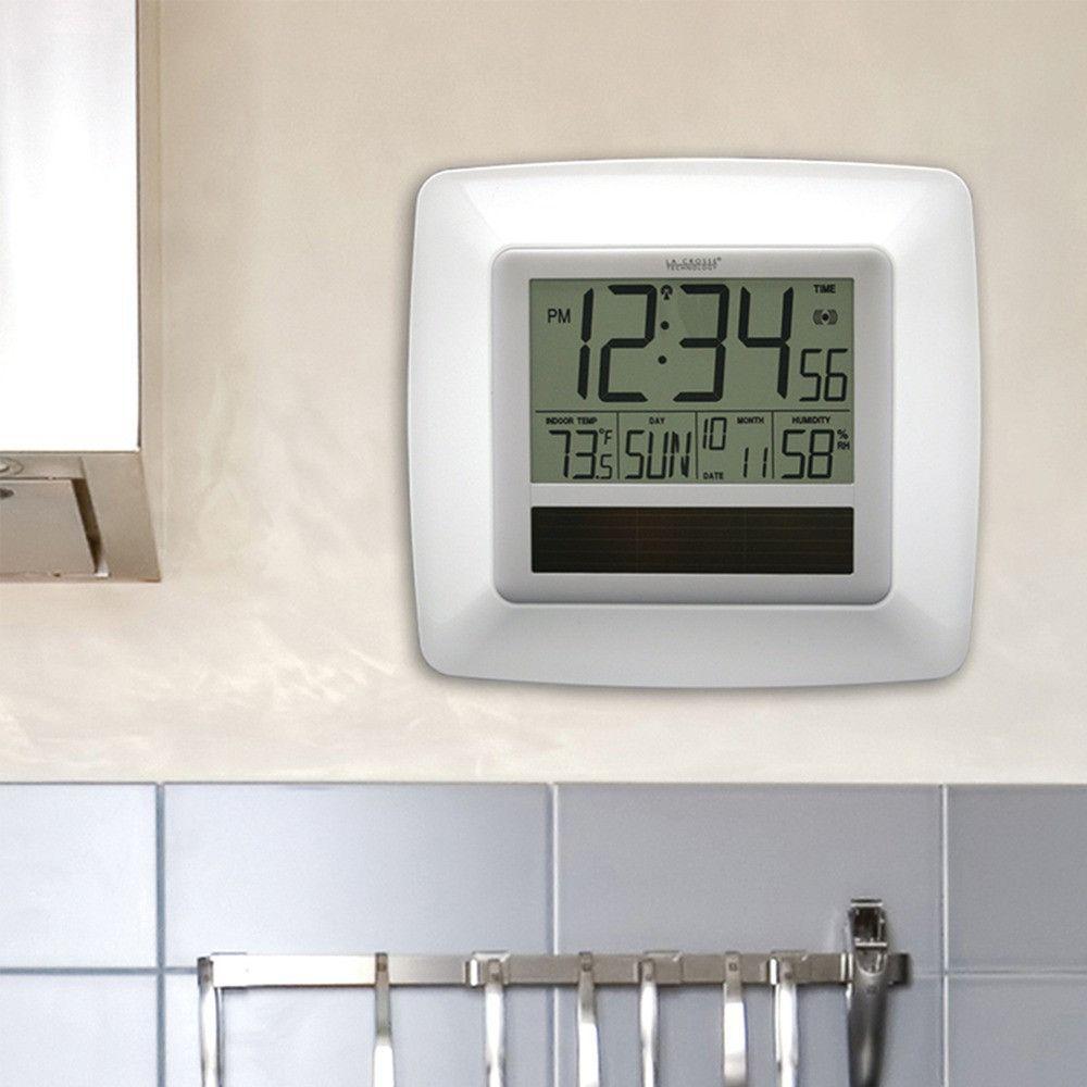 La crosse technology solar atomic digital wall clock with indoor la crosse technology solar atomic digital wall clock with indoor temperature white amipublicfo Choice Image