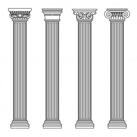 Greckiej I Rzymskiej Architektury Klasycznej Kamienia Colomns Ilustracja Wektorowa Konspektu Roman Architecture Greek Columns Architecture