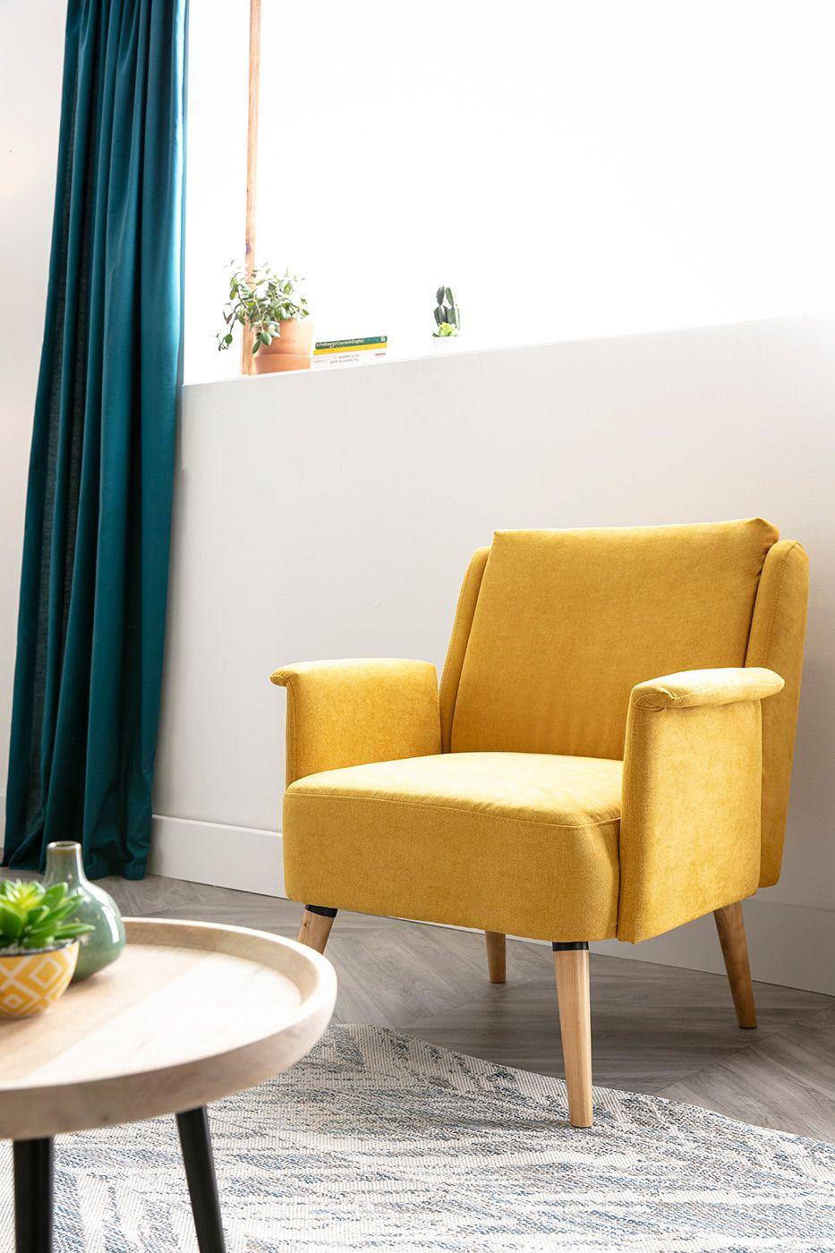 Fauteuil Design Tissu Effet Velours Jaune Moutarde Aeola Miliboo En 2020 Idees De Meubles Fauteuil Design Mobilier De Salon