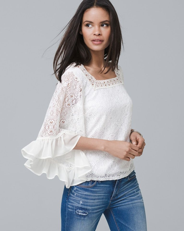e92834d3d20524 Women s Bell-Sleeve Lace Peasant Blouse by White House Black Market ...