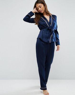 d07363241cdf ASOS Premium Satin Piped Kimono and Pant Set | Cute | Asos premium ...