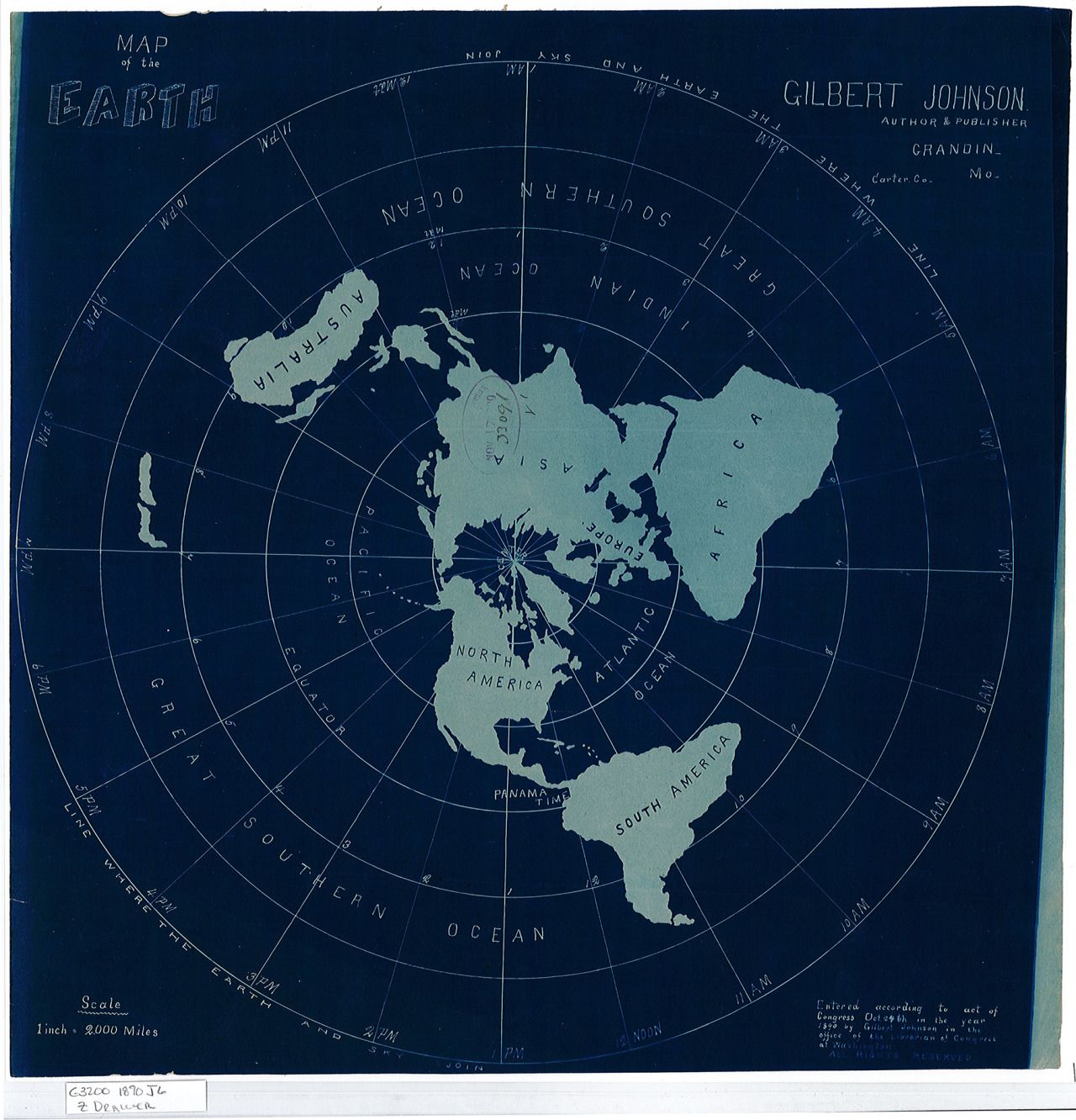 Flat Earth map created by Gilbert Johnson in 1890 # ...