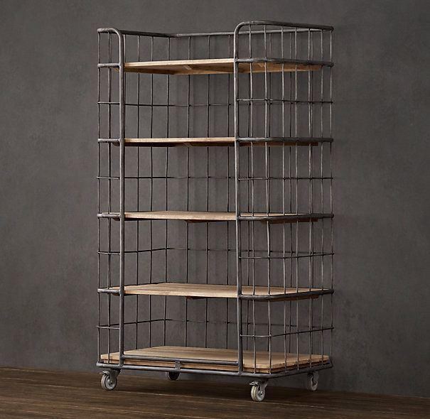 Circa 1900 Caged Baker S Rack Single Shelving Industrial Bakers
