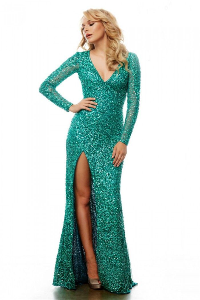 Fitted V Neck Long Sleeve Green Sequin Sparkly Prom Dress With ...