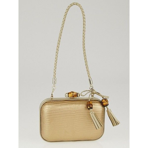 b0372535c04 Pre-owned Gucci Gold Lizard and Chain Broadway Bamboo Box Evening Bag  ( 795) ❤ liked on Polyvore featuring bags