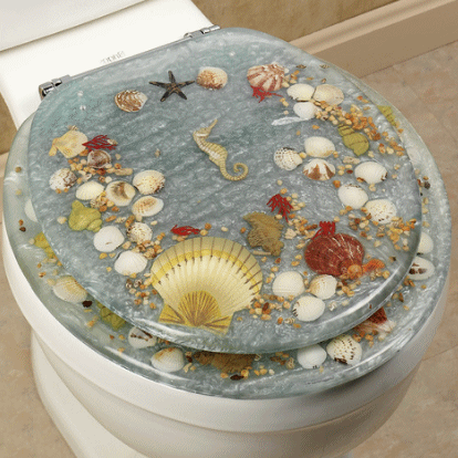 Jewel Seashell Acrylic Toilet Seat Lt Blue