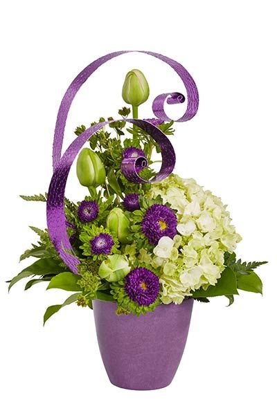 Playful in Purple Spring Flower Arrangement Pinterest Aster
