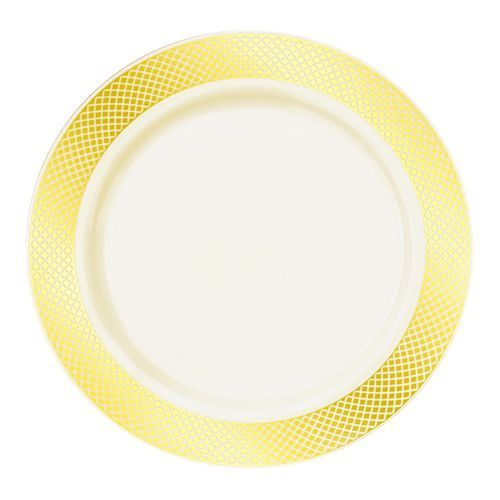 Fancy Discounted Ivory/Cream with Gold Designed Rim 9   Dinner Plate - Posh Party  sc 1 st  Pinterest : posh disposable plates - pezcame.com