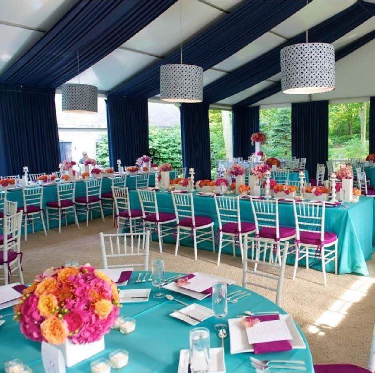 Teal Wedding Ideas For Reception: Backyard Tent Wedding, Tent