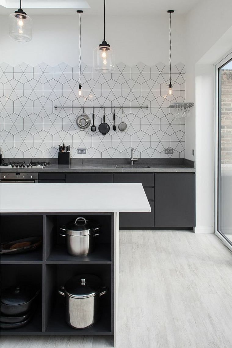 cuisine moderne gris fonce et carreaux graphiques interiors simplicity of lighting and pattern of the backsplash hold your attention in this scandinavian kitchen 50 gorgeous gray kitchens that usher in trendy