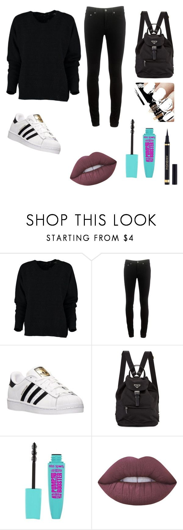 """""""casual all black"""" by maria-josefa ❤ liked on Polyvore featuring rag & bone, adidas, Prada, Lime Crime and Yves Saint Laurent"""