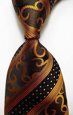 Classic Striped Black Gold JACQUARD WOVEN 100/% Silk Men/'s Tie Necktie Hot