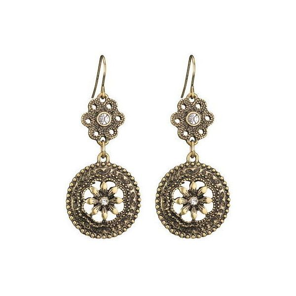 goldtone double drop flower earrings ($11) ❤ liked on Polyvore