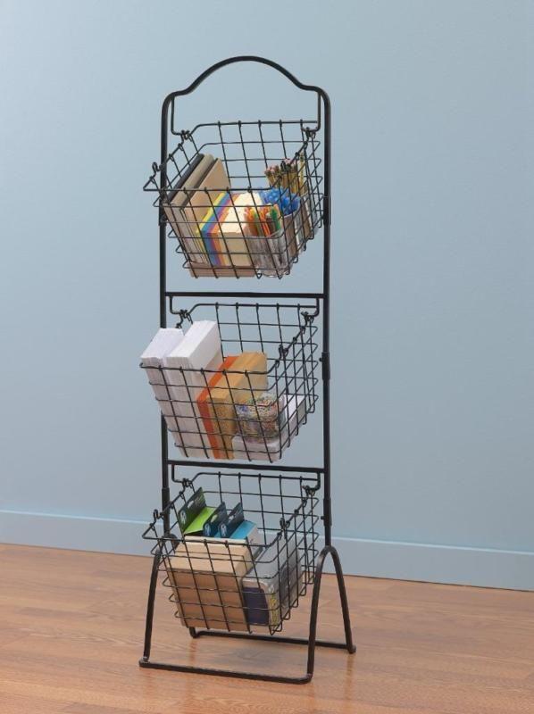 Superb Wire Storage Basket Bins Shelving 3 Tier Rack Organizer Fruit Stand  Vegetable