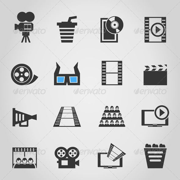 Cinema Icons 4 (With images) Icon illustration, Badge design