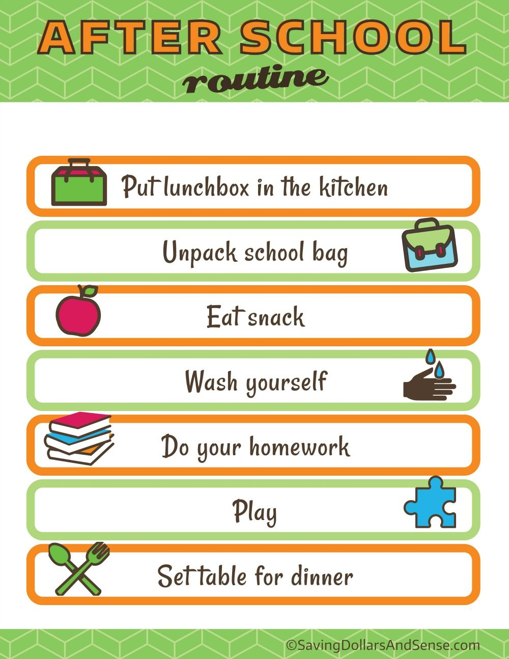 Kids Daily Routine Charts - Saving Dollars and Sense | School ...