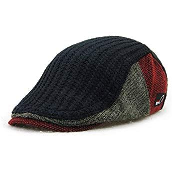 a6f1fcd33cd64 MOTINE Men s Knitted Wool Driving Duckbill Hat Warm Newsboy Flat Scally Cap (Black)