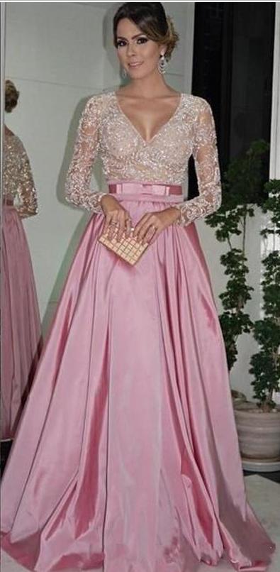 Evening Dresses Long Sleeves V Neck Beaded Bodice Ruffled Taffeta A ...
