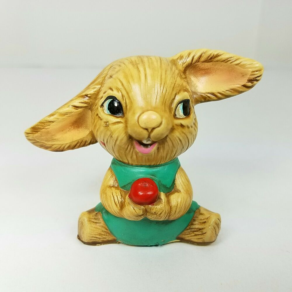 Bunny Rabbit Holding Apple Anthropomorphic Resin Figurine