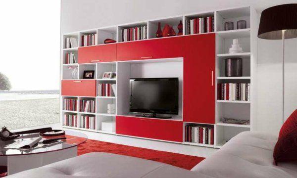 Meuble tv rangement moderne blanc rouge salon salon for Meuble salon rouge