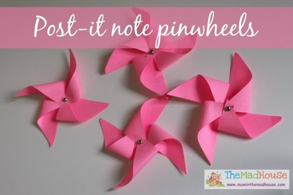 how to make post it note pinwheels