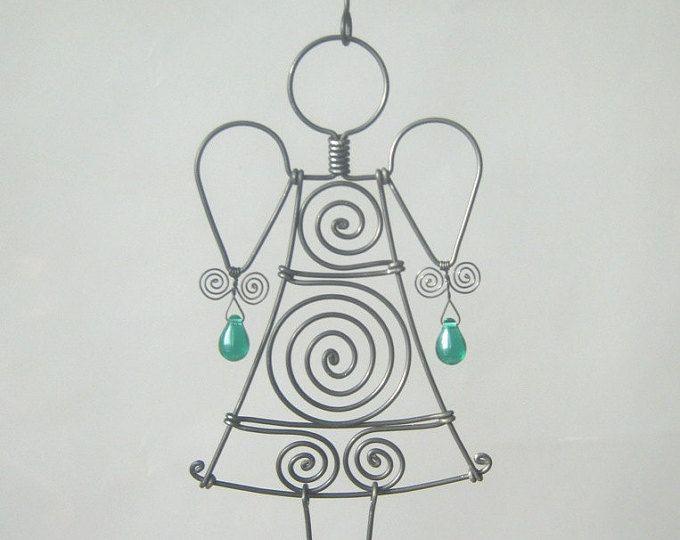 Figuren Aus Draht Selber Machen metall figur skulptur draht engel in grün selber machen