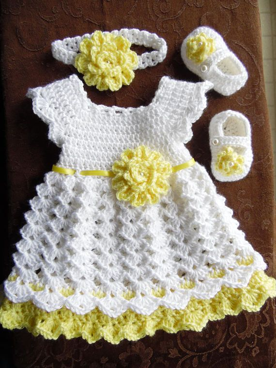 Crochet Baby Dress Set, White and Yellow Baby Dress Headband and ...