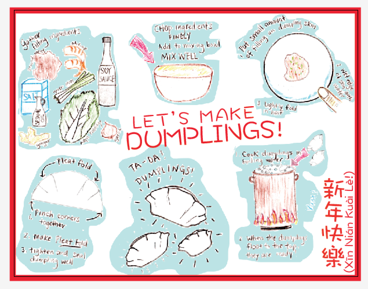 Dumpling description for Chinese New Years. My friend made this!