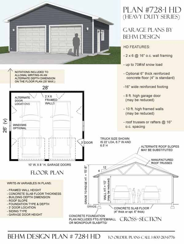 2 Car Oversized One Story Garage Plan Dno 728 1hd 28 X 26 By Behm Designs Garage Plans Garage Shop Plans Garage Design
