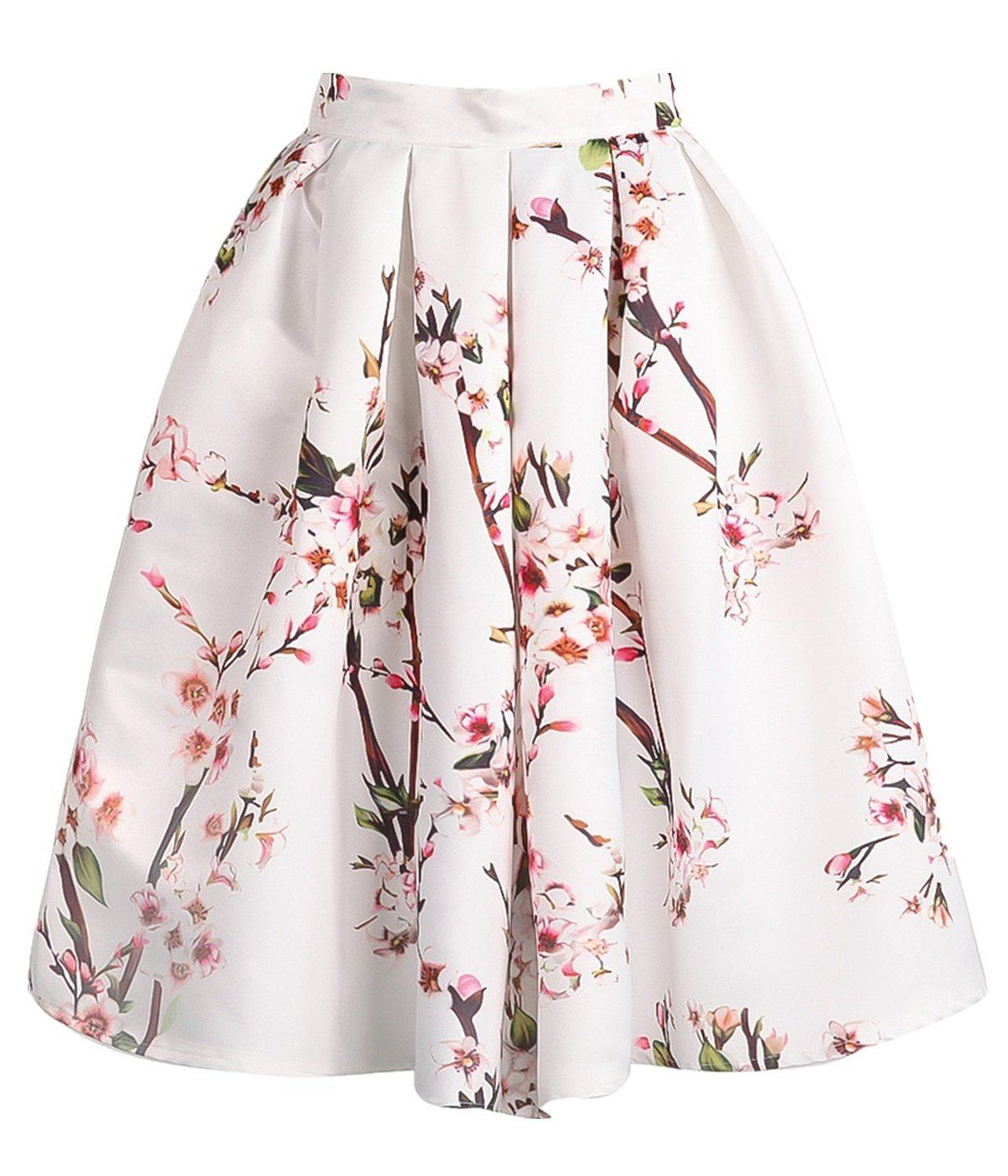 Sheinside® Women's White Floral Pleated Skirt at Amazon Women's ...