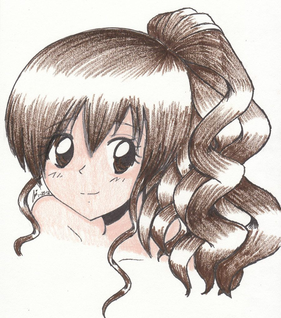 Drawing Of A Girl With Curly Hair. Anime/L Callaghan