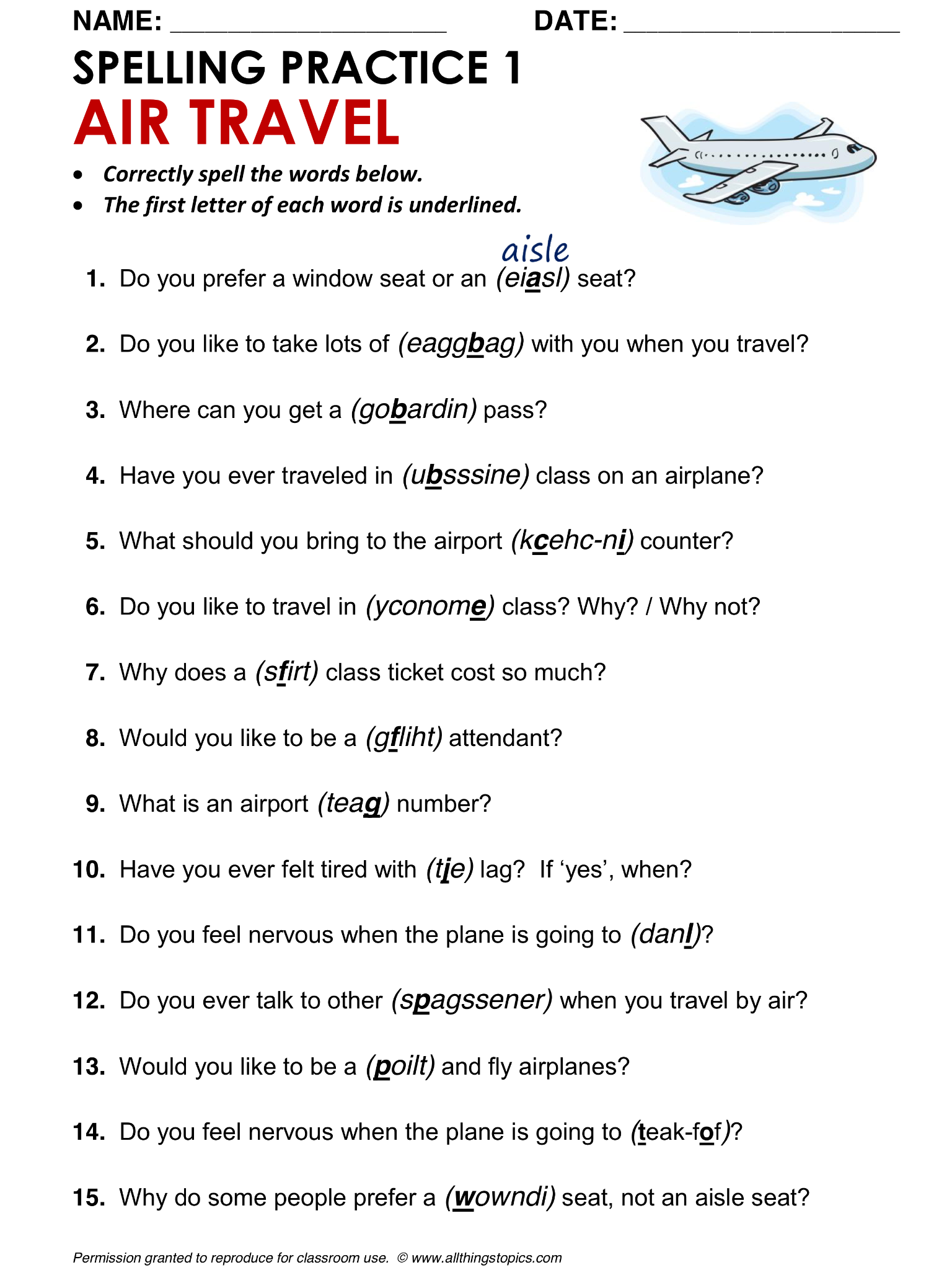 Airports And Air Travel Spelling Worksheet Air Travel 1